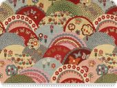 Jacquard deco fabric, flowers and trees, multicolour, 140cm