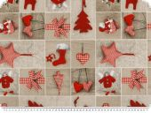 Deco christmas fabric, patch,  sand and red, 140c