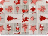 Deco christmas fabric, patch,  grey and red, 140c
