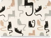 Deco fabric for children, digital print, cats,  ecru