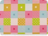 Deco fabric, stars-stripes-dots, rose-pink-turqu., 140cm