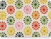 Deco fabric, circles - flowers, ecru-red-yellow, 140cm