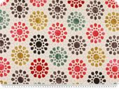 Deco fabric, circles - flowers, ecru-red-green-black, 140cm