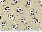 Deco fabric with funny cows, ecru, 140cm