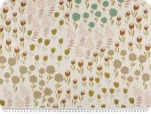 Deco fabric for children, digital print, flowers,  ecru
