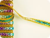 Sequin ribbon, golden-multicoloured, ca. 5mm