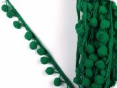 Binding with bobbles, green, ca. 20mm