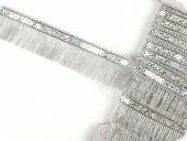 Sequin ribbon with fringes, silver, 35mm