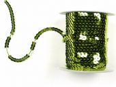Sequin ribbon, yellow green, ca. 6mm