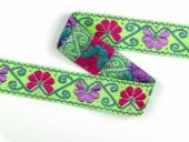 Jacquard-binding, braid, green-pink, 33mm