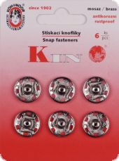 Sew-on snap fasteners, 15mm, silver, 6pcs.
