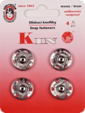 Sew-on snap fasteners, 18 mm, silver, 4 pcs.