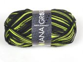 Trendy sock- knitting yarn, black-neon yellow, 100g/420 m