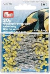 Glass-headed pins, hardened, 43x0,60mm, yellow, 20g