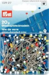 Glass-headed pins, coloured heads, 30x0,60mm, 20g