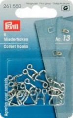 Corset hooks and eyes,  No.13, large, silver,  6pcs.