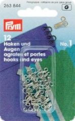 Hooks and eyes, brass,  12 pcs., No.1 small