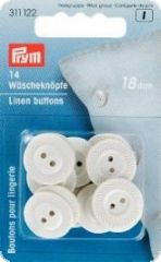 Linen buttons, plastic flat,  18mm, white, 14pcs.