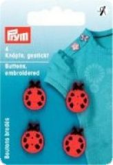 Buttons embroidered, ladybirds, red, 4 pieces