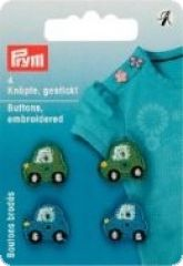 Buttons embroidered, cars, green-blue, 4 pieces