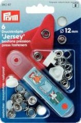 Press fasteners 'Jersey', pearl, 12mm, 6pcs.