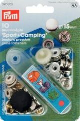 Press fasteners 'Sport & Camping', 10pcs, silver, 15mm