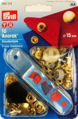 Press fasteners 'Anorak', 10pcs. Ø 15 mm, gold-coloured