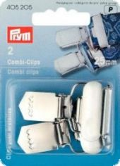 Combi clips with hinged buckle, 25mm, silver, 2pcs.