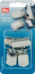 Combi clips with hinged buckle, 30mm, silver, 2pcs.