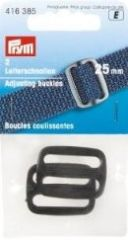 Adjusting buckles, strong, 25mm, black, 2 pieces
