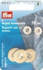 Magnetic sew-on buttons, 3 pcs., gold-colored, Ø19mm