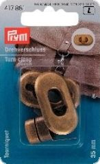 Turn clasps for bags, antique brass, 3,5 x 2cm
