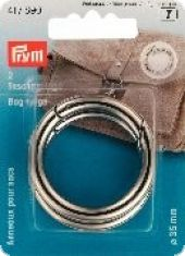 Bag rings, silver-coloured, 35mm, 2 pieces