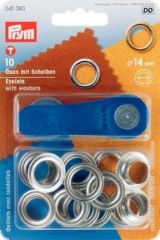 Eyelets with washers, 10 pcs., silver, 14mm inside Ø