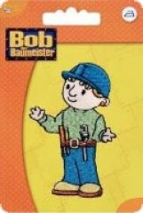 Embroidered motif, Bob the builder, blue-green, to iron on