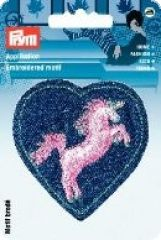 Embroidered motif, heart with unicorn, blue-pink, for ironin