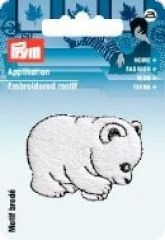 Embroidered motif, polar bear, white, for ironing on