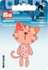 Embroidered motif, cat, pale pink-brown, for ironing on