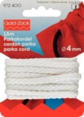 Gold Zack Parka cord, Ø 4mm, L.:1,5m, white