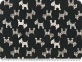 Jacquard deco fabric, dogs, reversible, ecru-black, 140cm