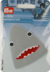 Embroidered motif, shark's head, grey-red