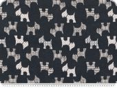 Jacquard deco fabric, dogs, reversible, white-blue, 140cm