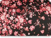 Fine taffeta, 100% silk, flowers, black-red, 140cm
