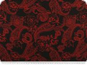 Fine silk taffeta,paisley, black and red, 140cm