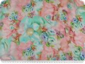Valuable silk chiffon, flowers,  pastel colours, 135cm