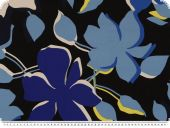 Silk fabric, pure silk, flowers, black-multicolour, 138cm