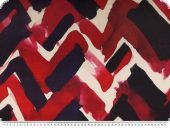 Silk satin, brushstrokes, white-red-blue, 142cm