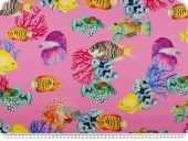 Pure silk, colourful fishes on pink ground, 138cm