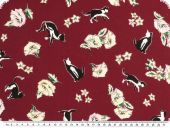 Silk fabric,  pure silk, flowers and cats, red-black, 140cm