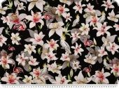 Silk fabric,  pure silk, flowers, black and white, 140cm